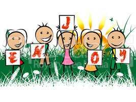 Kids Enjoy Indicates Childhood Joyful And Happiness