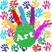Art Handprint Shows Youths Painted And Colourful