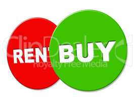Buy Sign Indicates Message Bought And Purchasing