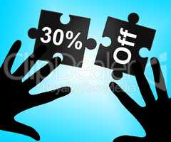 Thirty Percent Off Indicates Merchandise Clearance And Sales