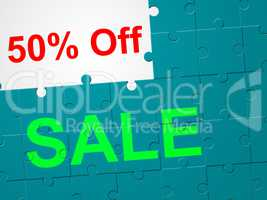 Fifty Percent Off Represents Clearance Offer And Promotional
