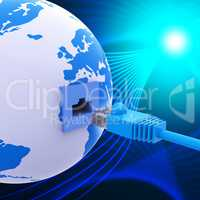 Worldwide Connection Represents Lan Network And Computer