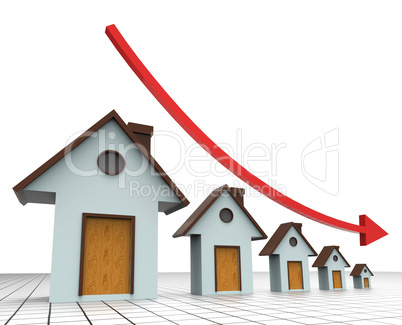 House Prices Decreasing Shows Real Estate Agent And Buildings