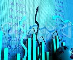 Business Graph Indicates Progress Report And Biz