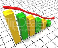 Decreasing Report Represents Business Graph And Decrease