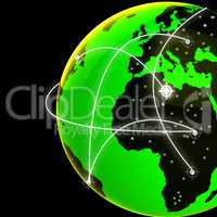 Global Network Indicates Digital Communication And Globe