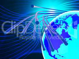 Optical Fiber Network Represents World Wide Web And Communicatio