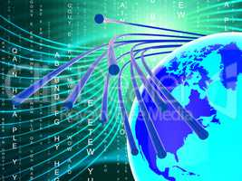 Optical Fiber Network Shows World Wide Web And Communication