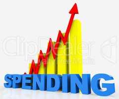 Increase Spending Indicates Progress Report And Diagram