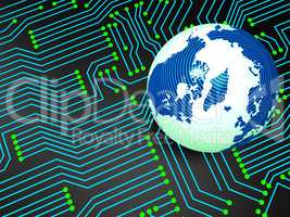 Circuit Board Shows Globally Worldwide And Electronics