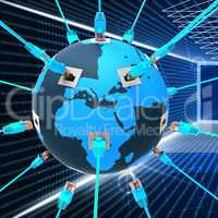 Worldwide Network Shows Web Site And Connection