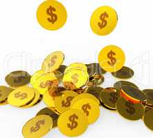 Dollar Coins Indicates American Dollars And Banking