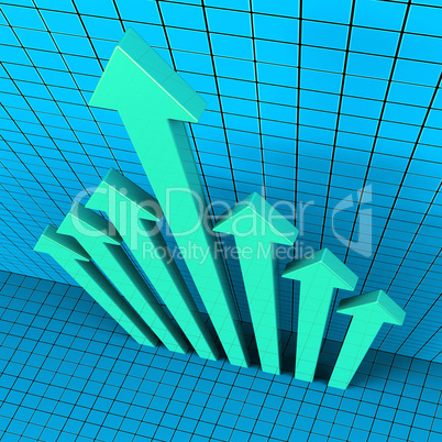 Progress Arrows Shows Financial Report And Analysis