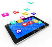 Social Media Tablet Indicates Application Software And Communication