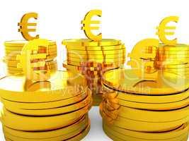Euro Cash Represents Money Revenue And Wealth