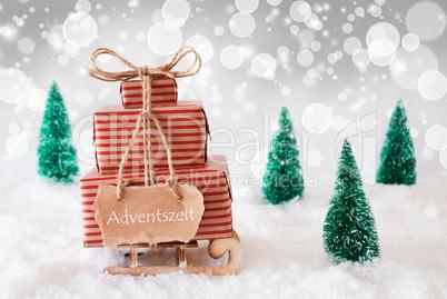 Christmas Sleigh On White Background, Adventszeit Means Advent Season