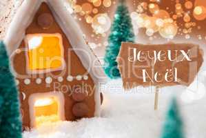 Gingerbread House, Bronze Background, Joyeux Noel Means Merry Christmas