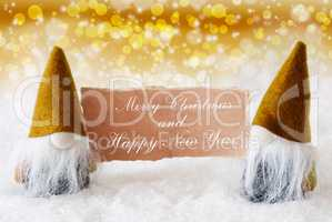 Golden Noble Gnomes With Card, Merry Christmas Happy New Year