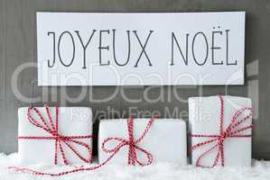 White Gift On Snow, Joyeux Noel Means Merry Christmas