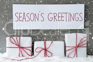White Gift With Snowflakes, Text Seasons Greetings