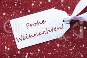Label On Red Background, Snowflakes, Frohe Weihnachten Means Merry Christmas