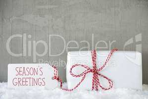 One Gift, Urban Cement Background, Text Seasons Greetings