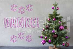 Christmas Tree, Cement Wall, Danke Means Thank You