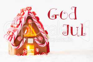 Gingerbread House, White Background, God Jul Means Merry Christmas