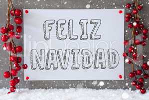 Label, Snowflakes, Decoration, Feliz Navidad Means Merry Christmas