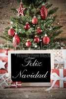 Nostalgic Tree With Feliz Navidad Means Merry Christmas