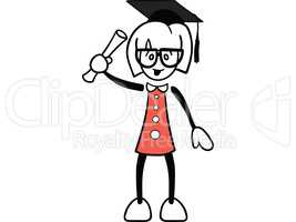 Graduate female cartoon