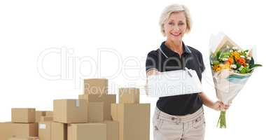 Composite image of happy flower delivery woman looking for signature