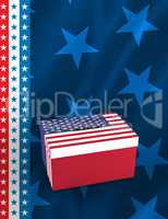 Cardboard box with american flag print