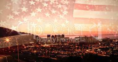 Composite image of colourful fireworks exploding on black background