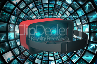Composite image of digital image of red virtual reality simulator