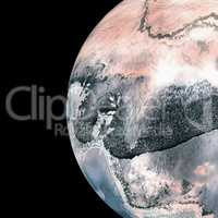 Earth over white background