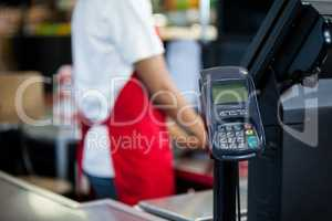 Credit card terminal at cash counter