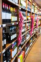 Variety of wine bottles in grocery section