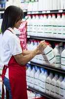 Female staff arranging milk bottle in shelf