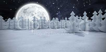 Composite image of christmas trees at forest on snowy field