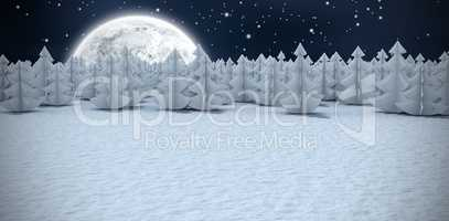 Composite image of digital generated image of christmas trees at forest