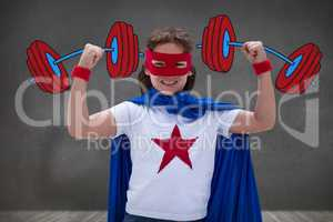 Composite image of portrait of cheerful girl standing with arms raised