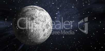 Composite image of digitally generated full grey moon