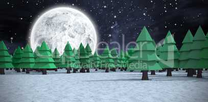 Composite image of green christmas trees on snowy field at forest
