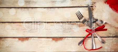 Cutlery tied up with ribbon