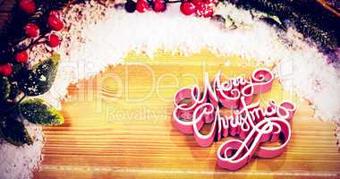 Composite image of high angle view of three dimensional of merry christmas text