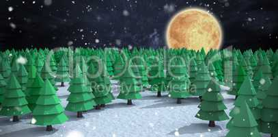 Composite image of high angle view of green christmas trees at forest