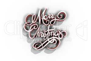 Three dimensional of Merry Christmas text in red and white color