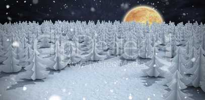Composite image of high angle view of christmas trees at forest