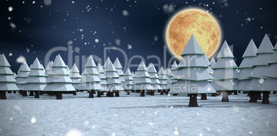 Composite image of three dimensional of trees on filed during winter